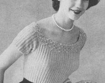 Vintage 1950s Rib Stitch Blouse Smocked Sequins Beads Knitting Pattern 50s Jumper PDF 5503