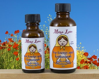Energy, Enthusiasm, Flower Essence Aromatherapy Oil for Body, Bath, Massage, Reiki-Infused, Organic