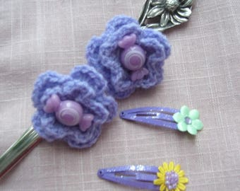 Scrunchies made purple hand crocheted with their little claws costomisees
