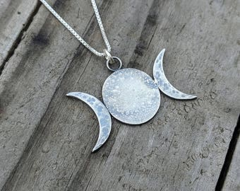 Witch Jewelry   Triple Moon Goddess Necklace   Wiccan Pagan Goddess Jewelry   Triple Goddess Necklace   Gift for Witch