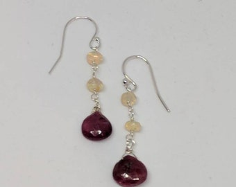 Opal and ruby earrings. Your choice of sterling silver or gold filled