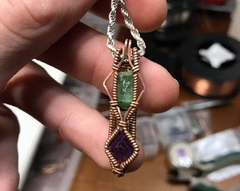 Tourmaline and Fluorite Point Copper Pendant