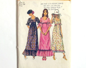 1970's Vintage Sewing Pattern / Scoop Neck Boho High Waisted Dress / Maxi Dress / Simplicity 9835 / Size 12