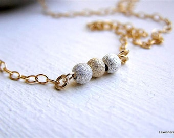 Ball Necklace , Mixed Metal Necklace , Trio Stardust  Ball Necklace , Sterling Silver , Gold Fill , modern  , minimalist