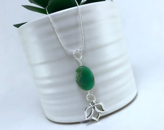 Chrysoprase Lotus Necklace