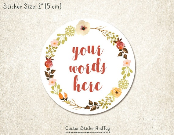 30 custom stickers with your words earth tones watercolor flower wreath 2 round wedding stickers envelope seals product labels s 139 from