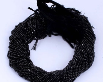 April Sale 10 strands Black Spinel AAA Quality  Facet Rondelles 3.5-4mm 13.5 inch strand ISR-008