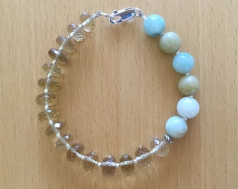 Sandbar Bracelet, Citrine, Amazonite, Sterling Silver, Beaded, Semi Precious Gemstones, Gifts for Her, Yellow, Blue