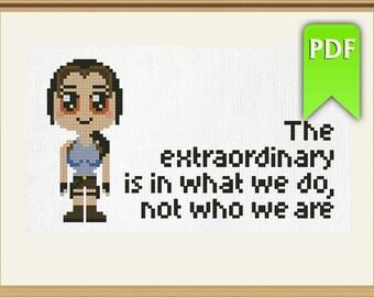 Chibi Kawaii Lara Croft (Tomb Raider video game) cross stitch or perler beads pattern. Instant download!