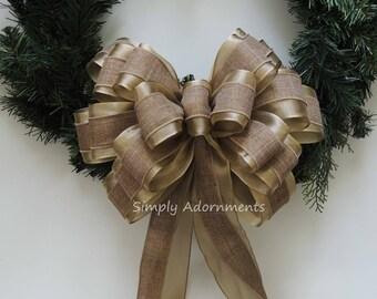 Xlarge Gold Burlap Christmas Bow Gold Natural Burlap Christmas Tree Topper Bow Xlarge Burlap Christmas Wreath Bow Burlap Burlap Gift Bow