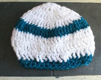 Stripe baby hat, Crochet Baby Cloche, Baby Sock Cap, White Infant Beanie, Baby Winter Hat, Baby Snow Hat, Teal White Cap,Teal Stripe C