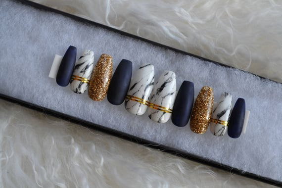 Matte Navy blue and marble nails with gold accents| Any size or ...