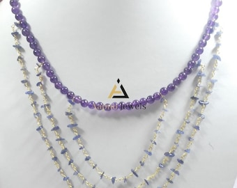 Natural amethyst and iolite beads necklace, amethyst and iolite necklace, beads necklace, gemstone beads,catholic beads necklace