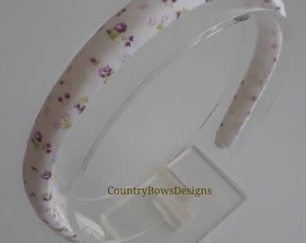 White with Tiny Purple Floral Print Heaband-Padded Heaband- Cotton Fabric Headband- Women -Teens -Big Girls Headband-Plastic  Headband