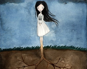 Well Grounded Girl - Lonely Fairytale, Art Print 5x7 , Watercolor illustration, Tree, Roots, Dark Night, Gloomy, Curse