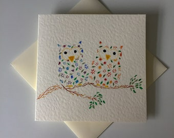 Two Little Owls - Greetings Card