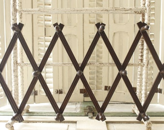Antique Wooden Peg Rack, Dark Solid wood Accordion Peg Rack,Extra Long and Sturdy, Tie Holder, Jewelry Rack, Coat Rack