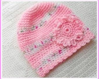 Newborn baby girl crocheted pink hat 0-3 months