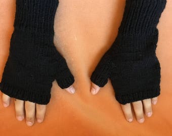 Black knitted fingerless gloves comfortable and warm