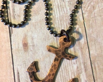 SALE, Anchor Necklace, Rustic Copper Nautical Pendant on Ball Chain, Ready to Ship!