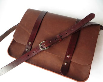 Leather Satchel, Leather Messenger Bag, Mens Leather Briefcase, Handmade Leather Bag,