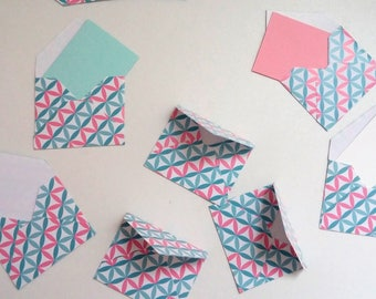 Set of small envelopes rosasses pink and blue