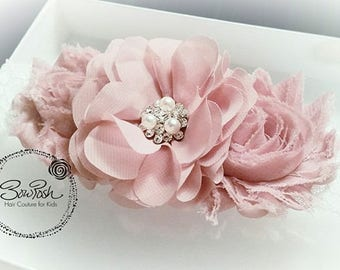 Aimee- Vintage pink headband, Easter headband, Spring headband, shabby flower headband, flower girl headband, lace headband