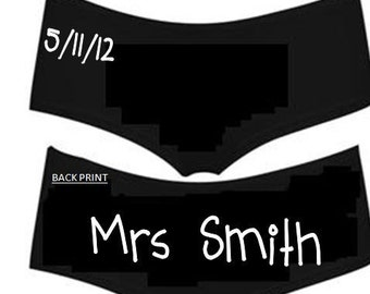Personalised Mrs (your name) and wedding date printed ladies boyshorts/underwear - married/bride