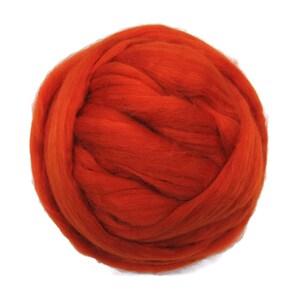Merino Silk Roving Pumpkin- Vibrant Color Mulberry Wool Silk Blend Fiber for Spinning & Felting