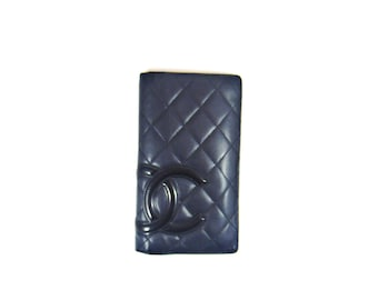 Authentic Chanel Black Quilted Cambon Leather Long Clutch Bifold France Wallet