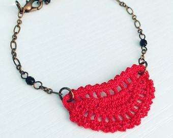 Mini Addison Crochet Bracelet - Red
