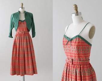 Vintage 1950s Cotton Sundress with Bolero Jacket