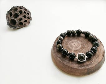 Unisex Bracelet with Hawkeye, Onyx and Hematite beads and   silver 925.