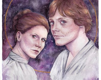 Star Wars Leia and Luke Skywalker art print