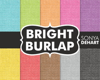 "80% OFF SALE Burlap Digital Paper Bright ""Burlap Paper"" Linen Jute Textures Scrapbooking Cards"