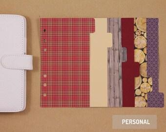 6 Personal Planner Dividers, filofax planner dividers set, cardboard dividers for 6 ring planner