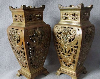 Pair Antique French Bronze, Cherub Angel Mantle Vases, Potpourri Vases
