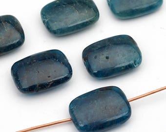 Flat rectangular apatite beads, dark green blue semiprecious smooth rectangle 16mm, 6 pcs