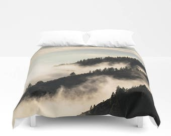 Mountain Duvet Cover, Mountain Bedding, Tree Duvet Cover, Tree Bedding, Nature Bedding, Dorm Room Decor, Nature Duvet Cover