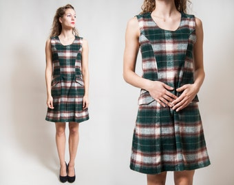 Green-white-bordo Pinafore Dress/ Woolen Sleeveless Dress with Pockets/ Rodi Rebel Winter Mini Dress • Size Small to Medium •