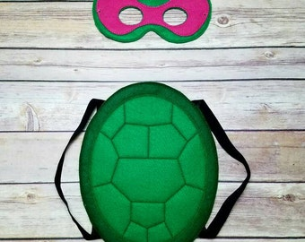 Pink TMNT Teenage Mutant Ninja Turtles Masks and shell Pretend Play Dress Up Halloween costume