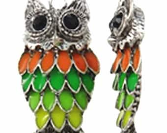 1pc 47x21mm zinc alloy iwith enamel   owl pendant-9951