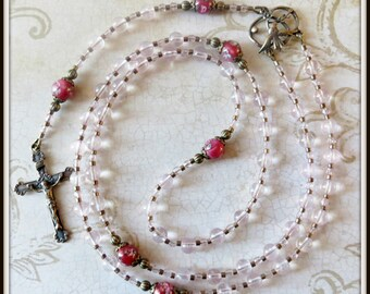 Pink Quartz Confirmation, Rosary w/ Holy Spirit Dove Center