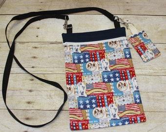 Crossbody Bag, Hipster Bag, Tablet Bag, eReader Bag, Key Chain, Key Fob, Patriotic, USA, Red White and Blue, Flag, Stars and Stripes