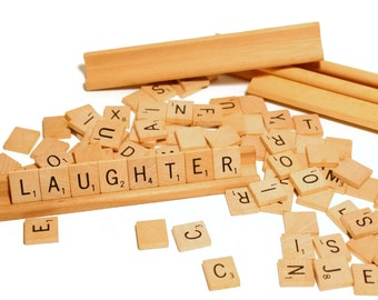 100 Wood Scrabble Pieces, 4 Stands, Full Counted Set