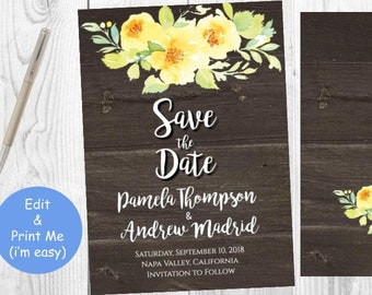 Save the Date Invitation Invite, Printable Rustic Engagement Announcement Party, Yellow Roses Watercolor Florals, INSTANT DOWNLOAD Editable