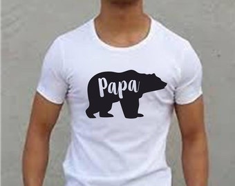 T shirt Papa Tee just in time for Fathers Day White T shirt with black Papa Bear on it.Birthday Gift/Fathers Day Gift/Gift for Dad/Dad/Papa.