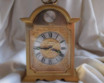 Vintage Tempus Fugit Linden Alarm Clock, Battery Operated, Clock Collector, Home Decor, Shabby Chic, Bobo Style, Decorative Object