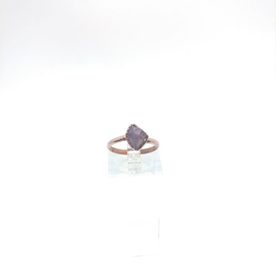 Raw Tourmaline Ring | Raw Crystal Ring | Copper Ring Sz 6 | Rough Tourmaline | Pink Tourmaline Crystal | Post Apocalyptic Clothing