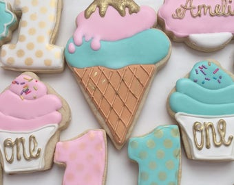 1 dzn. Pretty pastels icecream and icecream cones decorated cookies for first birthday. Pink, gold and teal custom colors